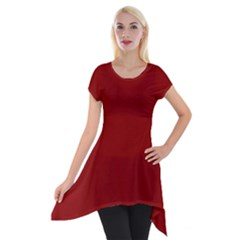 Plain Blue Red Short Sleeve Side Drop Tunic by Jojostore