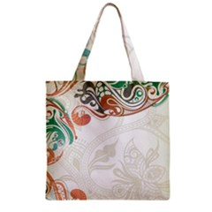 Flower Floral Tree Leaf Zipper Grocery Tote Bag by Jojostore