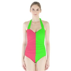 Neon Red Green Halter Swimsuit by Jojostore