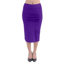 Plain Violet Purple Midi Pencil Skirt by Jojostore