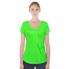Plain Green Short Sleeve Front Detail Top by Jojostore