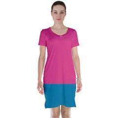 Trolley Pink Blue Tropical Short Sleeve Nightdress by Jojostore