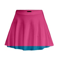 Trolley Pink Blue Tropical Mini Flare Skirt by Jojostore