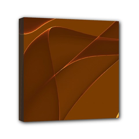 Brown Background Waves Abstract Brown Ribbon Swirling Shapes Mini Canvas 6  X 6  by Nexatart