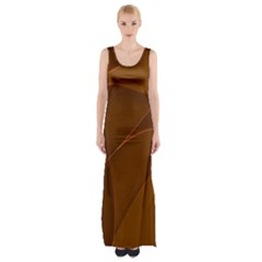 Brown Background Waves Abstract Brown Ribbon Swirling Shapes Maxi Thigh Split Dress