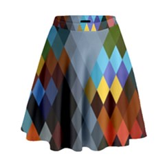 Diamond Abstract Background Background Of Diamonds In Colors Of Orange Yellow Green Blue And More High Waist Skirt by Nexatart