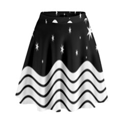 Black And White Waves And Stars Abstract Backdrop Clipart High Waist Skirt by Nexatart