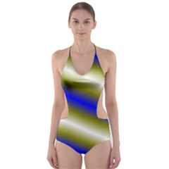 Color Diagonal Gradient Stripes Cut Out One Piece Swimsuit