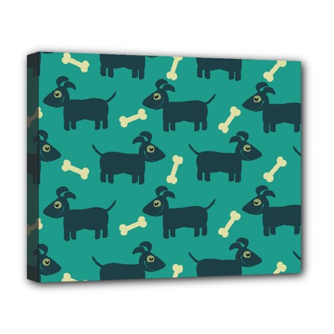 Happy Dogs Animals Pattern Deluxe Canvas 20  X 16   by Nexatart