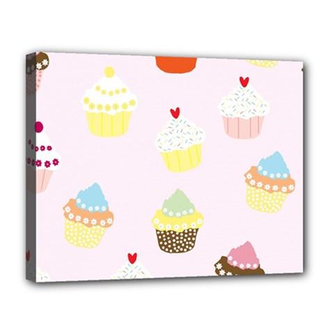 Seamless Cupcakes Wallpaper Pattern Background Canvas 14  X 11  by Nexatart
