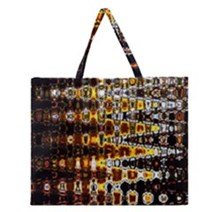 Bright Yellow And Black Abstract Zipper Large Tote Bag by Nexatart