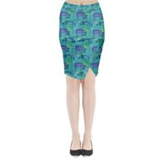 Elephants Animals Pattern Midi Wrap Pencil Skirt by Nexatart