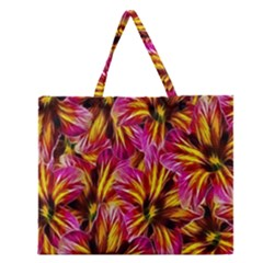 Floral Pattern Background Seamless Zipper Large Tote Bag by Nexatart