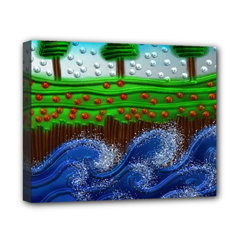 Beaded Landscape Textured Abstract Landscape With Sea Waves In The Foreground And Trees In The Background Canvas 10  X 8  by Nexatart