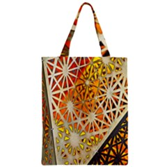 Abstract Starburst Background Wallpaper Of Metal Starburst Decoration With Orange And Yellow Back Zipper Classic Tote Bag by Nexatart
