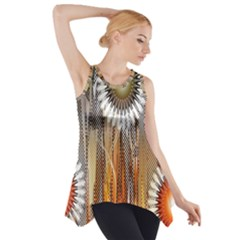 Floral Abstract Pattern Background Side Drop Tank Tunic