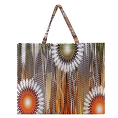 Floral Abstract Pattern Background Zipper Large Tote Bag by Nexatart