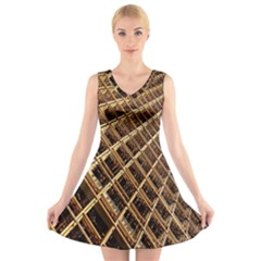 Construction Site Rusty Frames Making A Construction Site Abstract V-Neck Sleeveless Skater Dress