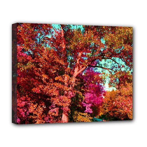 Abstract Fall Trees Saturated With Orange Pink And Turquoise Deluxe Canvas 20  X 16   by Nexatart