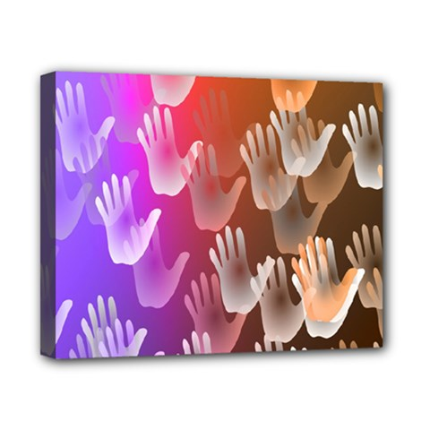 Clipart Hands Background Pattern Canvas 10  X 8  by Nexatart