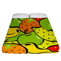 Digitally Created Funky Fruit Wallpaper Fitted Sheet (california King Size) by Nexatart