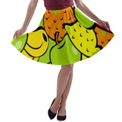 Digitally Created Funky Fruit Wallpaper A Line Skater Skirt by Nexatart