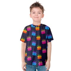 A Tilable Birthday Cake Party Background Kids  Cotton Tee by Nexatart