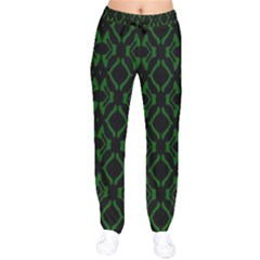 Green Black Pattern Abstract Drawstring Pants by Nexatart