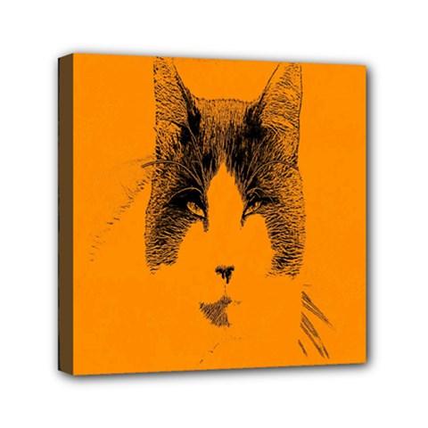 Cat Graphic Art Mini Canvas 6  X 6  by Nexatart