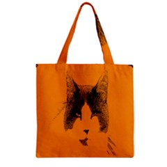 Cat Graphic Art Zipper Grocery Tote Bag by Nexatart