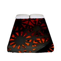 Abstract Lighted Wallpaper Of A Metal Starburst Grid With Orange Back Lighting Fitted Sheet (full/ Double Size)