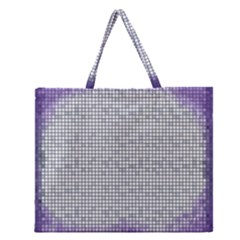 Purple Square Frame With Mosaic Pattern Zipper Large Tote Bag by Nexatart
