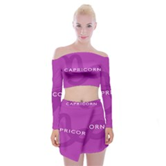 Zodiac Capricorn Purple Off Shoulder Top With Skirt Set