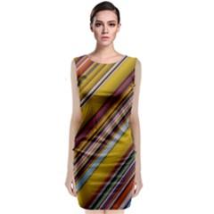 Colourful Lines Sleeveless Velvet Midi Dress by Nexatart