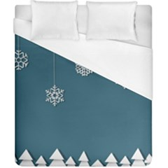 Blue Snowflakes Christmas Trees Duvet Cover (california King Size) by Mariart
