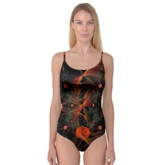 Fractal Wallpaper With Dancing Planets On Black Background Camisole Leotard