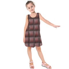 Red Cell Leather Retro Car Seat Textures Kids  Sleeveless Dress by Nexatart