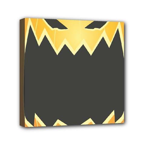 Halloween Pumpkin Orange Mask Face Sinister Eye Black Mini Canvas 6  X 6  by Mariart