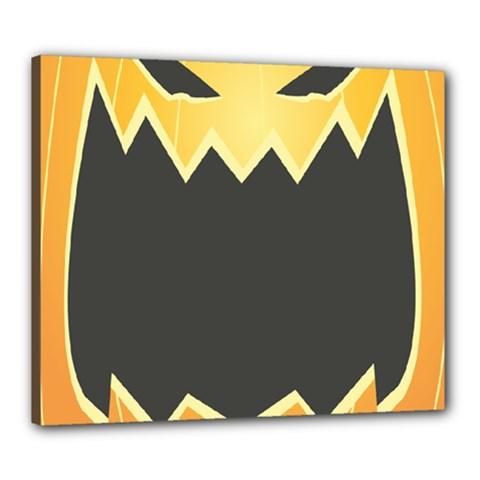 Halloween Pumpkin Orange Mask Face Sinister Eye Black Canvas 24  X 20  by Mariart