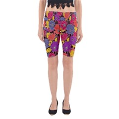Colorful Floral Pattern Background Yoga Cropped Leggings by Nexatart