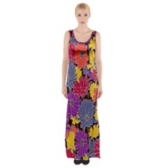 Colorful Floral Pattern Background Maxi Thigh Split Dress by Nexatart