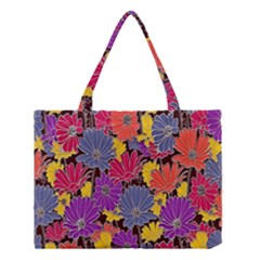 Colorful Floral Pattern Background Medium Tote Bag by Nexatart
