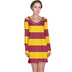 Oswald s Stripes Red Yellow Long Sleeve Nightdress by Mariart