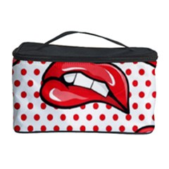 Lipstick Lip Red Polka Dot Circle Cosmetic Storage Case by Mariart