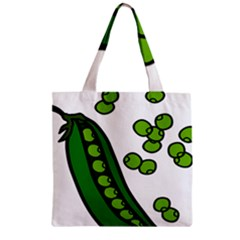 Peas Green Peanute Circle Zipper Grocery Tote Bag by Mariart