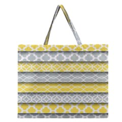 Paper Yellow Grey Digital Zipper Large Tote Bag by Mariart