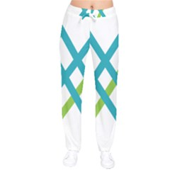 Symbol X Blue Green Sign Drawstring Pants by Mariart