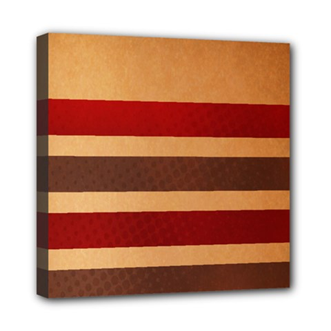 Vintage Striped Polka Dot Red Brown Mini Canvas 8  x 8  by Mariart