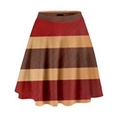Vintage Striped Polka Dot Red Brown High Waist Skirt