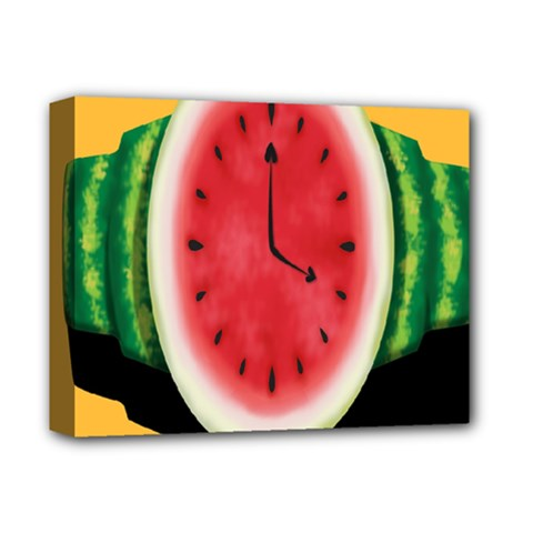 Watermelon Slice Red Orange Green Black Fruite Time Deluxe Canvas 14  X 11  by Mariart